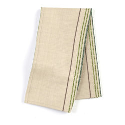 Green Feedsack-Style Cotton Stripe Custom Napkin Set - Our Custom Napkins are sure to round out the perfect table setting'whether you're looking to liven up the kitchen or wow your next dinner party. We love it in this classic green & tan feedsack style stripe made in super soft woven cotton.  bye bye scratchy burlap!