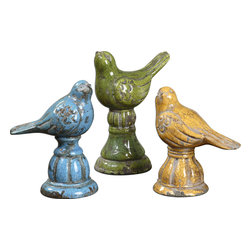 Uttermost - Bird Trio Ceramic Figurines, Set of 3 - Get a bird's eye view of these three ceramic figurines that are cast in solid blue, yellow and green with a crackled finish. The charming trio will add a touch of whimsy to a kitchen nook, bedroom side table or dining room centerpiece.