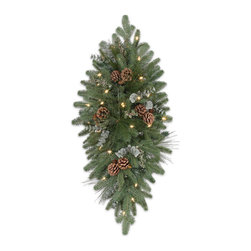 """Balsam Hill - 36"""" Balsam Hill® Wintry Woodlands Artificial Christmas Mailbox Swag - The crown of silvery green needles and dark green needles make the 36"""" Wintry Woodlands artificial mailbox swag the crowning glory of your front yard holiday decorations. No mailman or visitor can resist this majestic and awesome swag. Our hand-crafted mailbox swags have been featured on TV shows such as """"Ellen"""" and """"The Today Show"""" and are a recipient of the Good Housekeeping Seal of Approval. Balsam Hill swags hang beautifully, are made of flame-retardant and non-allergenic materials, and are covered by our popular 5-year foliage and 3-year light warranties. Free shipping when you buy today!"""