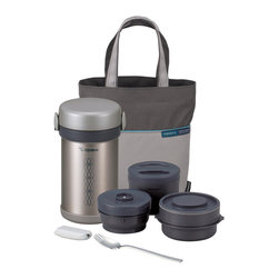 Zojirushi - Zojirushi 'Ms. Bento' 5-piece Vacuum Lunch Set - Take your lunch with you to work or school with this convenient Ms. Bento lunch set. A vacuum seal stainless steel container houses three smaller BPA-free plastic bowls to keep your food hot or cold for hours.