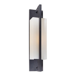 "Troy - Contemporary Blade Collection 20 1/2"" High Outdoor Wall Light - The Blade outdoor collection from Troy Lighting offers a sleek modern look. This attractive wall light is crafted from hand-worked wrought iron and comes in a forged iron finish. The fixture glows behind matte opal glass adding subtle softness to the geometric profile. A refined design that's perfect for illuminating your outdoor spaces. Hand-worked wrought iron construction. Forged iron finish. Matte opal glass. Takes one 100 watt bulb (not included). 20 1/2"" high. 4 3/4"" wide. Extends 5 3/4"" from the wall. 9 1/2"" from mounting point to top.  Hand-worked wrought iron construction.   Forged iron finish.   A Troy Lighting design.  Matte opal glass.   Takes one 100 watt bulb (not included).   20 1/2"" high.   4 3/4"" wide.   Extends 5 3/4"" from the wall.   9 1/2"" from mounting point to top."