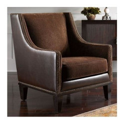 Uttermost - Matthew Williams Derek Armchair - Designer: Matthew Williams. Seat height: 16 inch.. Light assembly. Made of Foam & Wood. Assembly instructions. 28 in. W x 30 in. D x 34 in. HCoordinating fabrics of plush chestnut with swirl sculpting and saddle brown faux leather complete the charm of this compact profile club chair. Features double row nail head detail rich walnut stained legs and removable seat cushion.