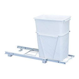 "Rev-A-Shelf - Rev-A-Shelf RV-12PB Single 35 Qt. Pullout Waste Container - White - This bottom mounted 35 quart pullout waste unit features a heavy-duty construction that is stylish yet durable. The white wire frame construction features 75lb rated 3/4 Extension Ball Bearing Slides for an easy glide. The unit comes fully assembled, and only takes four screws to complete installation to the bottom of your cabinet. The Rev-A-Shelf RV-12PB Single 35 Qt. White Pullout Waste Container conveniently keeps your garbage out of sight, and is a great addition to any kitchen. Size Specifications: 10-5/8"" W x 22"" D x 19"" H. Please make sure you have a minimum cabinet opening of at least 10-3/4"" W x 22-1/8"" D x 19-1/8"" H to ensure a proper fit."