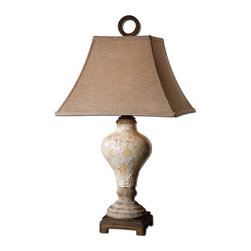 Uttermost - Uttermost 26785 Single Light Crackled Ivory Table Lamp from the Fobello Collecti - Uttermost 26785 Carolyn Kinder Fobello LampDistressed, crackled ivory ceramic with tan undertones, rustic accents and dark bronze details. The square bell shade is a rusty linen fabric.Features:
