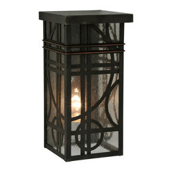 """Meyda Lighting - Meyda Lighting 6""""W Deco Wall Sconce - Add Classic Elegance To The Exterior Of A Home, Hotel, Restaurant Or Commercial Environment With Art Deco Lines And Circles Featured On This Sophisticated Wall Fixture. Designed With Clear Seedy Art Glass And An Elaborate Design Hand"""