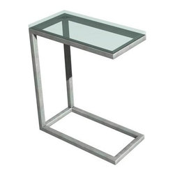 """TFG Furniture - Soho Snack Table - TFG Furniture Soho Snack Table. Soho Snack Table. Thinner profile frame perfect for smaller spaces. Frame constructed with 1"""" square stainless steel tubes. Glass is 5/8"""" thick which provides a safe and scratch resistant surface. Corners are smooth and absolutely seamless using a special welding technique.No assembly required."""