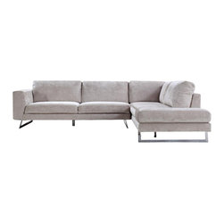 VIG Furniture - Milano Beige Microfiber Fabric Sectional Sofa - The Milano sectional sofa will add a plush seating are with a modern design perfect for any decor. This sectional sofa comes upholstered in a beautiful beige microfiber fabric. High density foam is placed within the cushions for added comfort. Attached to the bottom are chromed steel legs that add to the overall look.