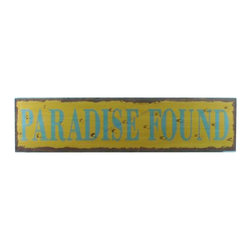 """Handcrafted Model Ships - Wooden Paradise Found Beach Life Sign 24"""" Nautical Bathroom Decorations - New - Immerse yourself in the warm ambiance of the beach, imagining golden sands between your toes as you listen to the gentle sound of the surf, while you enjoy Handcrafted Nautical Decor's fabulous Beach Signs. Perfect for welcoming friends and family, or to advertise a festive party at your beach house, bar, or restaurant, this Wooden Paradise Found Beach Life Sign 24"""" sign will brighten your life. Place this beach sign up wherever you may choose, and enjoy its wonderful style and the delightful beach atmosphere it brings."""