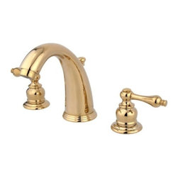"""Kingston Brass - Two Handle 8"""" to 16"""" Widespread Lavatory Faucet with Retail Pop-up KB982AL - Two Handle Deck Mount, 3 Hole Sink Application, 8"""" to 16"""" Widespread, 3 hole 8"""" to 16"""" center spread installation, Fabricated from solid brass material for durability and reliability, Premium color finish resists tarnishing and corrosion, 1/4 turn On/Off water control mechanism, 1/2"""" IPS male threaded inlets with rigid copper piping, Duraseal washerless cartridge, 2.2 GPM (8.3 LPM) Max at 60 PSI, Integrated removable aerator, 5-1/4"""" spout reach from faucet body, 6"""" overall height.. Manufacturer: Kingston Brass. Model: KB982AL. UPC: 663370056758. Product Name: Two Handle 8"""" to 16"""" Widespread Lavatory Faucet with Retail Pop-up. Collection / Series: Victorian. Finish: Polished Brass. Theme: Classic. Material: Brass. Type: Faucet. Features: Drip-free washerless cartridge system"""