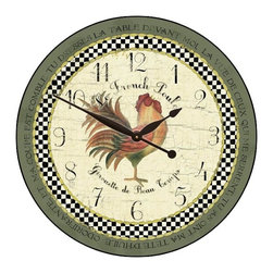 """Tyler - Le French Rooster Clock, Green Rim, 36"""" - Made In USA-Made When Ordered"""
