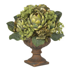 Nearly Natural - Artichoke Centerpiece Silk Flower Arrangement - This stunning Artichoke centerpiece is one of the most fascinating table accents available. It's the wondrous array of shapes and textures which makes the Artichoke one of nature's most interesting plants, and they are perfectly captured in this centerpiece. Skillfully crafted from the finest materials, the meticulous attention to detail is instantly recognizable as the lush greenery bursts forth from the ornate planter, adding a touch of elegance to any setting.