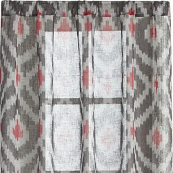 """Ikat Grey 48""""x96"""" Curtain Panel - Soft ikat motif floats subtle color and stunning pattern, woven of pure linen yarn that's been yarn-dyed then woven on an automatic loom. Curtains are finished with 2"""" bottom hems and 3"""" rod pockets. Curtain accessories also available."""