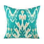 Hand Woven Ikat Pillow Cover -  spi551 - Ikat pillow cover constructed from hand woven Ikat fabric from Uzbekistan.