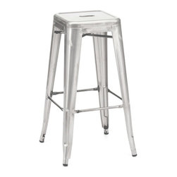 Design Lab MN - Amalfi Stackable Galvanized Steel Barstool Set of 4 - A classic furniture addition to any bistro, bar, restaurant, coffee shop or even home kitchen, this stunning modern is a must-see.