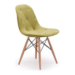 Zuo Modern - Zuo Modern Probability Modern Dining Chair X-651401 - A hip take on a modern classic, the Probability Chair has soft tufted with buttons velour seat and a wire steel frame with solid wood legs