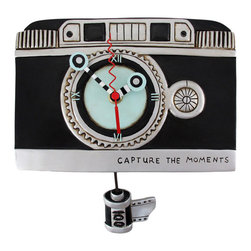 Allen Designs - Allen Designs `Vintage Camera` Camera Wall Clock with Pendulum - This vintage camera clock is a beautiful accent to the home of your favorite shutter bug! Made of cold cast resin and lovingly hand painted, it measures 6 inches tall, 9 inches long, and 2 inches deep. Attention to detail is what makes each of these clocks special, and the tiny flash bulb hands and 35mm film canister pendulum add a whimsical quality to this piece of art. The clock features quartz movement, runs on 1 AA battery (not included), and the pendulum hangs 3 inches from the bottom. It mounts to the wall with a single nail or screw.