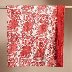 Red & White Floral Kantha Quilt - The floral pattern on this quilt looks at once traditional and eclectic, and could pair well with white, light blue, pink or any number of other colors to make for quite a cozy bed. I'd happily keep one at the foot of my bed to chase of a chill at night.