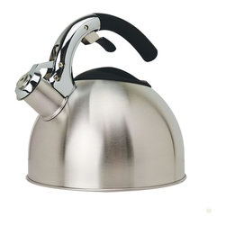 EPOCA - Soft Grip 3 Qt Stainless Steel Kettle - Polished Stainless Steel - Primula's Soft Grip Tea Kettle holds a generous 3 qts of water- enough to make 12 cups of tea from one pot. Each Soft Grip Whistling Tea Kettle is constructed of brushed stainless steel with an encapsulated bottom. Stainless steel heats up quickly and helps guard against rust. Primula's specially designed phenolic soft grip handle provides a firm stay-cool grip. Another special feature is the flip up spout which allows for safe handling and even pouring. Even the lid was carefully constructed, with a heat-resistant looped handle for easy removal to sit atop a wide opening for easy fill and cleaning. A soft pleasant whistle is emitted when water reaches a boil.