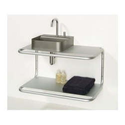 Whitehaus - Aeri Wall Mount Aluminum Dual Shelf - Basin, faucet and trap not included. Made from aluminum. 33.5 in. W x 19.75 in. D x 17.75 in. H (23 lbs.). Warranty