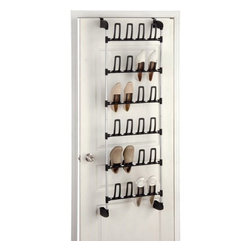 Organize It All - Overdoor 12 Pair Shoe Rack - Our over the door shoe rack will help organize your shoes from clutter. Perfect for the closet door. Will not take up floor space.