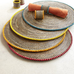 Horchow - Four Round Bead-Rimmed Placemats - Four Round Bead-Rimmed Placemats