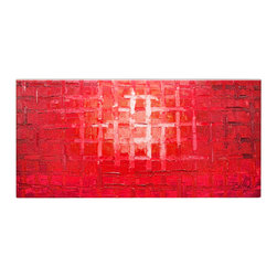 Matthew's Art Gallery - Oil Painting on Canvas Abstract Red Cage - The Painting:  Red Cage