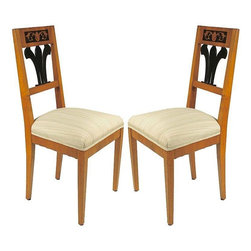 Pre-owned Biedermeier Style Side Chairs - A Pair - A beautiful pair of side chairs with lovely upholstery and stunning design. Biedermeier style, circa 1950's. Sold as a pair only!