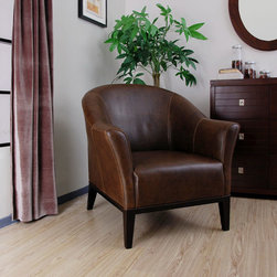 None - Tivoli Dark Brown Leather Arm Chair - This sophisticated leather arm chair will create a more dignified look in your home or office. It is upholstered with a dark brown top grain leather and constructed with a hardwood frame for added durability. The seat measures 15.75 high.