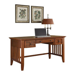 Home Styles - Home Styles Arts and Crafts Executive Desk - Home Styles - Executive Desks - 518015 - Mission Styling at its best! The Arts and Crafts Executive Desk embellishes typical mission styling with framed doors showcasing raised wood, lattice moldings and slightly flared legs. The drop-front center drawer can also be used as a keyboard tray with two additional storage drawers on each side. Construction is of oak solids and oak veneers in a warm, multi-step Cottage Oak finish with Black finished hardware.