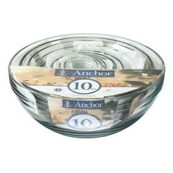 Anchor Hocking - 10-Piece Mixing Bowl Value Pack - Anchor Hocking Clear Glass 10-Piece Mixing Bowl Set includes 1 oz., 2 oz., 4 oz., 6 oz., 10 oz., 16 oz., 1 qt., 1.5 qt., 2.5 qt. and 3.5 qt. Dishwasher safe Shrink Wrap.