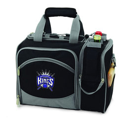 """Picnic Time - Sacramento Kings Malibu Picnic Pack in Black - Insulated pack with picnic service for 2 made of 600D polyester canvas. The elegant and unique Malibu shoulder pack is perfect for picnics, concerts, or travel. This tote has an integrated wine storage section and a spacious food storage section with removable liner. The adjustable shoulder strap makes it easy to carry. A wonderful gift idea.; Decoration: Digital Print; Includes: 2 plates (melamine, 9"""", Nouveau Grapes design), 2 wine glasses (acrylic, 8 oz.), 4 napkins (100% cotton, 14 x 14"""", Nouveau Grapes design), 2 (18/0) stainless steel forks, knives, and spoons, 1 hardwood cutting board (6 x 6""""), 1 stainless steel cheese knife with wooden handle, and 1 stainless steel waiter-style corkscrew"""
