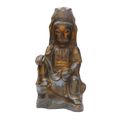 "Golden Lotus - Chinese Handmade Metal Golden Color Kwan Yin Statue - Dimensions:   w8"" x d7""x  h15"""