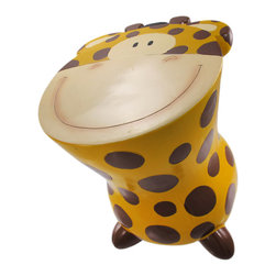 Yellow / Brown Spotted Giraffe Childs Stool Money Bank - This adorable cold cast resin baby giraffe child`s stool doubles as a piggy bank. The mustard yellow, with hand painted brown spots, giraffe stool measures 11 3/4 inches tall, 10 3/4 inches long and 9 3/4 inches wide.  You can add coins to the bank via a slot on the back, and remove them via a pull off stopper on the bottom. The stool is a great addition to your child`s bedroom, and makes a great gift for bee lovers.