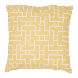 JRCPL - Handmade Yellow Embroidered Geometric Cotton 20x20-inch Throw Pillow - Handmade Yellow/ Gold/ Ivory/ White Cotton (20''x20'') Pillow