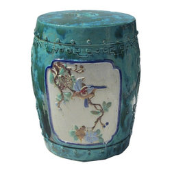 Golden Lotus - Chinese Relief Scenery Motif Round Ceramic Clay Stool - This clay stool is hand-made with relief oriental flower and bird motif on the surface and glazed with  turquoise color. Besides being a garden stool, this kind of stool is getting popular for decorating indoor home. It is mostly use as a table base/ small coffee table, plant stand or simply as a decor item. ( please understand we will send the closest option for your order because there is variation for the hand-made item) Color glaze finish varies.
