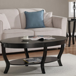 None - Lewis Distressed Black Coffee Table - Give your guests a place to put their cups by sitting this distressed black coffee table in your living room. Curvy legs are completed with anti-mar pads to protect your floor,while the aged finish makes the piece look like an heirloom.