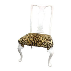 Queen Anne Style Chair with Velvet Leopard Seat - Leopard Love! A very stylish side chair painted in a soft chalk finish. We love the quality of vintage furniture. We modernize blah brown pieces no one wants into fabulous accent pieces.  There is one more chair available, slightly smaller, for the same price. Please contact support@chairish.com if you're interested in purchasing both!