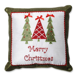 Pillow Perfect - Merry Christmas Trees 16.5 in. Throw Pillow - 553078 - Shop for Pillows from Hayneedle.com! No matter how many trees your house will have this year it needs three more with theMerry Christmas Trees 16.5 in. Throw Pillow. Yes! Because this accent pillow is so cute with bow-topped trees and a sweetly embroidered Merry Christmas message. About Pillow PerfectPillow Perfect was founded by Paul and David Ratner two brothers with a passion for comfortable design stylish functionality and a commitment to pleasing their customers. With over 25 years in the business the founders of Pillow Perfect operate just North of Atlanta Georgia and have been producing products that add style and color to home and patios across the U.S. Keeping up with styles trends consumer needs and quality assurance makes them a major player in the industry. Their manufacturing facility brings all their ideas together and makes them a reality for customers all over the country and through drop-ship online retailers all over the world.