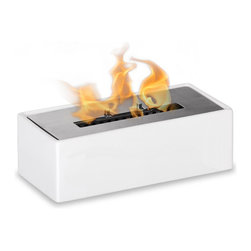 "Ignis - Mia White Tabletop Ventless Ethanol Fireplace - Treat yourself to the warmth and beauty of a fireplace that doesn't take up a lot of room with this Mia White table top Ceramic Ventless Ethanol Fireplace. You'll love its sleek white metallic housing and the 1.5-liter burner insert that provides an open flame for get-togethers with family and friends. This fireplace is a freestanding unit that burns clean ethanol fuel, so you can enjoy warm, clean heat wherever you want it, even in small rooms or apartments. This unit is perfect for renters who don't have the option of installing their own fireplaces, too. Move it from spot to spot; it's lightweight and portable. Dimensions: 12"" x 5.5"" x 4"". Features: Tabletop, Freestanding - can be placed anywhere in your home (indoors & outdoors). Ventless - no chimney, no gas or electric lines required. Easy or no maintenance required. Capacity: 1.5 Liter. Approximate burn time - 5 hours per refill. Approximate BTU output - 6000."
