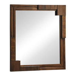 Zuo - San Diego Mirror - The San Diego Mirror is as unique and appealing as the city itself. Crafted of rubberwood with a thick wood veneer, this stylish mirror features mid-century patterning across it's frame. Perfectly scaled to compliment the San Diego Double Dresser, this generous mirror can make a statement in an entry or above a vanity. This handsome modern mirror has a walnut stain along the it's front and sides, perfect for adding warmth to a contemporary layout. Let the San Diego Mirror bring sophistication and practicality to your stylish modern home. The San Diego Collection also features a coordinating double dresser, a high chest of drawers, a night stand, and king and queen size beds.