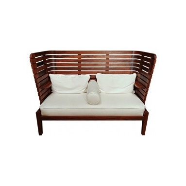 Eco Friendly Furnture and Lighting - Matt Stoich - Frits Settee.USA 2011 An indoor/outdoor settee made of Machiche wood, which has excellent weathering properties similar to teak. This is a new item that can be made to order, various woods and finishes available.