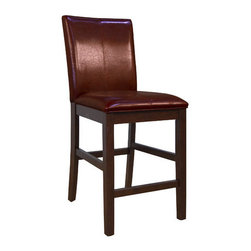 """A-America - Parsons Barstool (Set of 2) - Mesa Rustica has design, function, value and is built to last! Crafted of solid plantation mahogany with hand crafted details including chair back cut outs, true pegged through tenons, corner pegs and distressing. Each piece has its own unique characteristics. Our cushioned seat has more than 1.5 thickness for extra comfort and is made with the Pirelli webbing system. A rich dark finish and woven stitching on chairs and barstools inspired by South American motifs will surely make a lasting impression. Features: -Parsons collection. -Upholstered in vinyl. -Leg finish: Espresso. -Solid mahogany construction. -Hardware: Antique Bronze. -Finish: Aged Mahogany. -Hand stitched detail on parson chairs and stools. -Pirelli webbing. -Available in 24"""" counter or 30"""" bar height. -Manufacture provides one year warranty. -Assembly required. -Dimensions: 40.25"""" Height x 18"""" Width x 21.75"""" Depth."""
