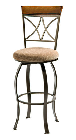 """Powell - Powell Hamilton Swivel Bar Stool in Medium Cherry - The Hamilton swivel bar stool features a diamond shaped back and slight curved legs. The top of the back piece is a sleek """"Brushed faux medium cherry"""" wood, while the frame is a """"Matte pewter and bronze"""" metal. This piece is sure to add interest and extra seating to your table. Perfect complement to the Hamilton pub table. Some assembly required."""