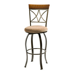 "Powell - Powell Hamilton Swivel Bar Stool in Medium Cherry - The Hamilton swivel bar stool features a diamond shaped back and slight curved legs. The top of the back piece is a sleek ""Brushed faux medium cherry"" wood, while the frame is a ""Matte pewter and bronze"" metal. This piece is sure to add interest and extra seating to your table. Perfect complement to the Hamilton pub table. Some assembly required."