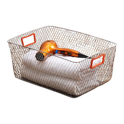 Design Ideas - Net Mesh Storage Basket - Orange Handle, Large - Meet the Net. Cool wire storage baskets, accented with orange silicone handles. Store towels, cleaning supplies, hangers, balls, water bottles or odds and ends in the garage.