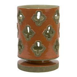 IMAX Worldwide Home - Chapala Large Cutwork Lantern - Material: 100% Ceramic. 10.5 in. H x 7.25 in. W x 7.25 in. . Weight: 6.83 lbs.The large Chapala cutwork lantern has a traditional Spanish mission style in an energetic orange finish. Holds pillar candles.