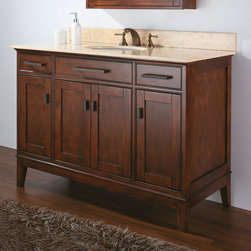 """48"""" Tobacco Madison Vanity for Undermount Sink - Introducing bold sophistication for your bath, the Madison Vanity offers a striking Tobacco finish and streamlined Old Bronze hardware."""