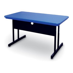 Correll Inc - Blow Molded Training Table in Blue - Desk Hei - Finish: 24 in. x 48 in./BlueLight weight. Sturdy all steel frames with adjustable nylon glides. Steel modesty panels with wire management trough on inside bottom edge. Modesty panels have 1 wire management hole. Pictured in Blue. 24 in. W x 48 in. L x 29 in. H. 30 in. W x 60 in. L x 29 in. H. 30 in. W x 72 in. L x 29 in. H