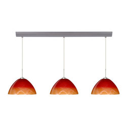 Besa Lighting - Besa Lighting 3JV-4201SL-LED Tessa 3 Light LED Linear Pendant - Tessa has a classical bell shape that complements aesthetic, while also built for optimal illumination. Our Solare glass is a pressed glass that features swirls of white throughout clear glass, which then is colored with a translucent mix of red-orange to yellow. This decor is classic and can be used in various ways. When lit this gives off a light that is functional and soothing. The smooth satin finish on the clear outer layer is a result of an extensive etching process. This handcrafted glass uses a process where every glass is consistently produced using a press mold, keeping variations to a minimum. The cord pendant fixture is equipped with three (3) 10' SVT cordset and a 3-light bar canopy.Features: