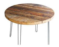 "Mt Hood Wood Works - 36"" Round Antique Barnwood Coffee Table With Hairpin Legs - Round Coffee Table made from Antique Reclaimed Barnwood with hairpin legs. This antique barnwood is approx a century old and is filled with character."